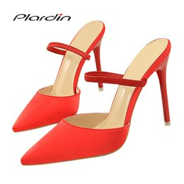 Halloween Heels Australia - Dress Shoes Plardin New Women Concise Fashion Ankle Strap Woman Pointed Toe Thin Heels Women's Buckle Slingbacks Pumps High Heels