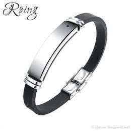 $enCountryForm.capitalKeyWord Australia - Roing Fashion Silicone Adjustable Men ID Bracelet Healthy Energy Black Stone Stainless Steel Magnetic Therapy Bangle RO1276