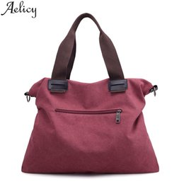 Purple Tote Bags Wholesale Australia - Aelicy 2019 Casual Canvas women's Handbags Famous Fashion Brand Solid Color Tote Bag Multifunctional Bag Travel