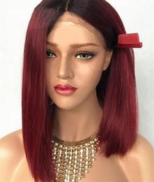 Dark Roots Hair Australia - 1B 99J Dark Root Blonde Short Lace Front Bob Human Hair Wig With Baby Hair Brazilian Human Ombre Bob Wig For Black Women