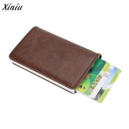 Candy Wallets Wholesale Australia - Men Women Alloy Leather ID Protector Holder Purse High Quality Business Card Holder Wallet Tarjetero Hombre Credito