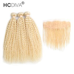 $enCountryForm.capitalKeyWord UK - Peruvian 613 Blonde Kinky Curly Hair Bundle with Lace Frontal Grade 9A Good Quality 3 Pcs Hair with 1 Pcs Closure 13*4