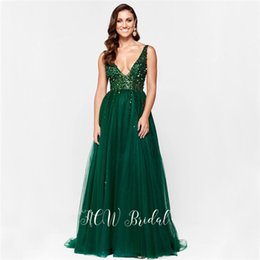 white rayon prom dress UK - Bling Beading Dark Green Evening Dress See Through V Neck A Line Backless Dark Green 2019 Hot Selling Prom Party Dresses Cheap