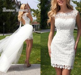 Petite Wedding Gown Pink Australia - 2019 New Short Summer Beach Wedding Dresses Crew Appliques Lace Backless Detachable Train Sexy White Ivory Bridal Gowns Custom Made