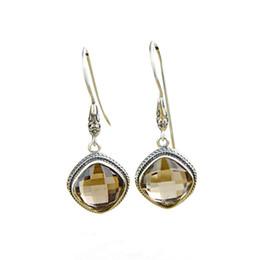 $enCountryForm.capitalKeyWord Australia - Fashion 925 Sterling Silver Square Smoky Quartz Dangle Drop Earrings Handcraft Chinese Style Women Ear Jewelry
