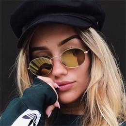 flat mirrors NZ - 90s Oval Sunglasses gold black retro pink red sun glasses women mirror luxe 80s small round sunglasses mens flat lens vintage UV