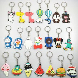 Figures Australia - Cute Cartoon Keychain Plastic Cat Bear Key Ring Gift for Women Girls Bag Pendant PVC Figure Charms Key Chains Jewelry