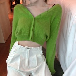 short sleeve knitted batwing cardigan Canada - thin Knitted Sweater Coat Long Sleeve Casual V-Neck solid color green Cardigans womens (R1274) Y191025