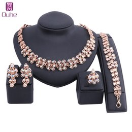 wedding costume jewelry dubai UK - New Gold Color Nigerian Wedding African Beads Jewelry Sets Women Dubai Rhinestone Crystal Jewelry Set Wholesale Costume Design