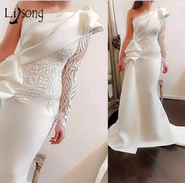 long casual dress train Australia - Elegant One Shoulder Mermaid Long Prom Dresses 2018 White Long Sleeves Prom Gowns Satin Ruched Ruffles Applique Sweep Train Y19072901