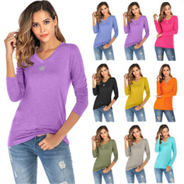 Wholesale desinger t shirts for sale – custom V neck Knitted Womens Long Sleeve T shirt Hot Sell Fashion Desinger Five pointed Star Autumn Winter Tee Tops Female Clothing