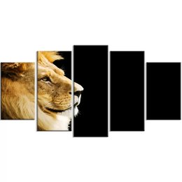 paintings yellow background NZ - 5 Pcs Animal Home Decoration Canvas Lion Yellow Painting Wall Art Poster Cool Modular Picture Gift Frame For Bedside Background