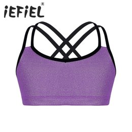 Discount crop tops for girls - iEFiEL Kids Little Girls Glittery Metallic Crop Top for Ballet Dance Gymnastics Stage Performance Exercise Workout Gym C