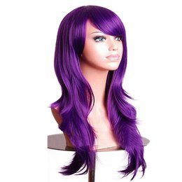 PurPle black cosPlay wigs online shopping - Curly Wigs Fake Hairpieces Synthetic Hair Black Pink Red Blue Cosplay Wig for Women cm Purple