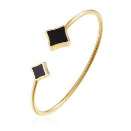 $enCountryForm.capitalKeyWord UK - 8 Colors Shell Geometric Titanium Open Cuff Bracelet Stainless Steel Charm Bracelet Bangle Fine Jewelry Women