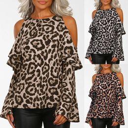 T Shirt Dress Winter Australia - 2018 Autumn Winter Women Fashion, Causal Leopard Print Off Shoulder Long Sleeve O-neck T Shirt Tops C19041702