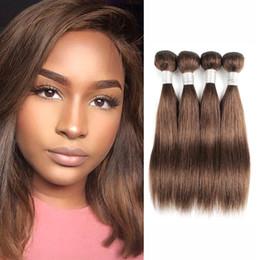 Chocolate Human Hair Inches Australia - Cheap Brown Straight Hair Bundles #2 #4 Chocolate Brown Short Bob Style 50g bundle 12 Inch Brazilian Virgin Hair Remy Human Hair Extensions