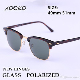 Cat Uv Protection Glasses Australia - AOOKO New Hinges Glass Polarized Sunglasses Top Quality Master Men Sun Glasses Women Semi Rimless Retro UV Protection Sunglass 51mm 49mm
