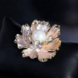 white enamel flower brooch Australia - Elegant Women Peony Flower Corsage Brooch Enamel Pearl Bouquet Brooch Pins Women Wedding Party Jewelry