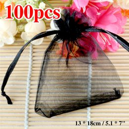 "$enCountryForm.capitalKeyWord Australia - 100pcs lot Organza Gift Bags 13 x 18cm   5.1 x 7"" Black Sheer Organza Pouch Wedding Jewelry Candy Favors Gift Bags ES1901"