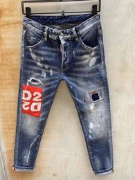 Wholesale hips stretch resale online - 2019 Mens Badge Rips Stretch Black Jeans Fashion Designer Slim Fit Washed Motocycle Denim Pants Panelled Hip HOP Trousers