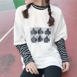 character tees Australia - Spring Women's Loose T-shirts 2018 Autumn Female Fashion Tee Shirt Lady Fake Two Pieces Patchwork Character Stripe Pullover Tops