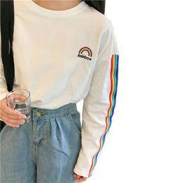 Formal Tops For Women NZ - Korea T-shirt For Women 2017 Autumn New College Kawaii Rainbow Embroidery Striped Sleeve Loose Long-sleeved Harajuku Top C19042201