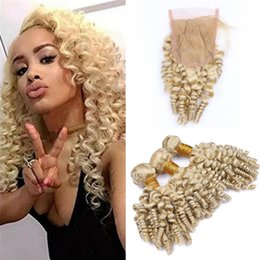 wholesale funmi human hair Canada - Aunty Funmi Curly Human Hair 613 Blonde 3 Bundles with Lace Closure Spiral Curly Hair Weaves Bouncy Curls Hair Extensions with Closure