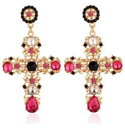 $enCountryForm.capitalKeyWord Australia - Bohemian Crystal Designer Earrings Fashion Brand Cross Dangle Luxury Earrings Large Long Dangle Gemstone Earring Women Jewelry