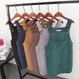 Pinafore Dresses Australia - Women Dress Corduroy Straight Suspender Mini Bib Overall Pinafore Casual Solid Pocket Dress 2019 New Arrival designer clothes
