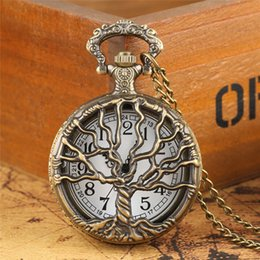 tree life watches UK - Vintage Classical Hollow Out Life Tree Design Pocket Watch for Women Men Quartz Analog Clock with Necklace Chain Timepiece Gifts