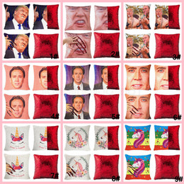 China 40*40cm sequin trump Pillowcase Nicolas Cage Square Printing Pillow Case Reversible Mermaid fanny Car Unicorn Cushion Cover 20PCS AAA1702 cheap pillowcase covers suppliers