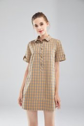 short sleeved cotton summer dresses NZ - rainbow stripe Plaid short-sleeved cotton classic long skirt English style 2019 summer new thin women's dress casual fashion brand 25QI