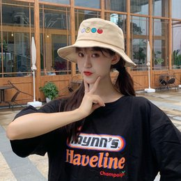 korean gardening hat NZ - Creative New Cartoon Fruit Embroidery Fisherman Hat Female Korean Version Of Soft Younger Sister Student Pot Hat Summer UV Protection