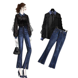 женские джинсовые рубашки оптовых-New Spring Two Piece Set Women s White black OL Shirt Blouse Denim Jeans Pant Women Elegant slim suit work office