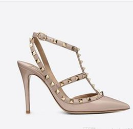 $enCountryForm.capitalKeyWord Australia - HOT! Big Size 2018 Designer 8cm 10cm Gladiator High Heels Women Shoes Nude Black Spikes T-strap Pump Patent Leather Stud Lady Shoes Summer