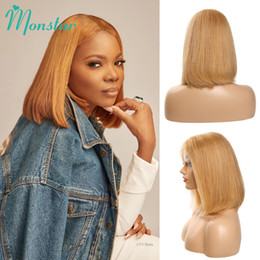 human hair wigs 27 NZ - Monstar #27 Color Straight 13x6 Frontal Short Bob Lace Front Human Hair Wigs Brazilian Remy Glueless Pre Plucked Wigs for Woman