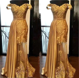 Discount green silk dress Gold Sheath Lace Evening Dresses 2020 Prom Dress Ruched Floor Length Illusion Formal Party Gowns Plus Size See Through M