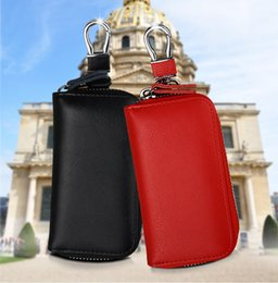 Thanksgiving Gift Packing Australia - Men's Leather Wallet Key case zipper Durable Wallet Multifunctional Car Key Pack Business package Gift Wallet