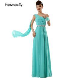 $enCountryForm.capitalKeyWord UK - Robe De Soriee Turquoise Bridesmaid Dress Long Chiffon One Shoulder Beading Ribbons Elegant Bride Wedding Party Prom Formal Gown