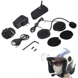 Motorcycle Helmet Walkie Headset NZ - New V6 Helmet Intercom 6 Riders 1200M Motorcycle Bluetooth Intercom Headset Walkie Talkie Helmet BT Interphone Plug EU Plug