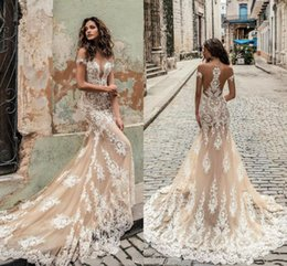 Lace iLLusion back mermaid wedding dress online shopping - Julie Vino Champagne Lace Appliqued Mermaid Wedding Dress Sexy Off Shoulder Sheer Back Bohemian Beach Bridal Gown