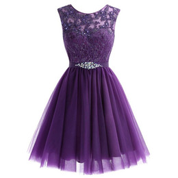 sequin sparkly UK - Grape Champagne Homecoming Dresses Jewel Beads Sequins Crystal Sash Short Prom Dresses Sparkly Mini Skirt Party Dresses Graduation Cocktail