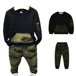 Camouflage pants for boys online shopping - Cool Boys Clothing Sets Autumn Kids sport suit full sleeves blouse camouflage pants suits Kids tracksuits for years