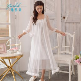 $enCountryForm.capitalKeyWord NZ - Robe Set Court White Robe Pijama Dressing-gown Nightdress and Set Bath Long Night Gown Lingerie
