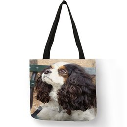 Women Diapers NZ - Custom Cute Charles Spaniel Dog Prints Tote Bag For Women Ladies Handbag Reusable Large Shopping Diaper Bags Dropshipping