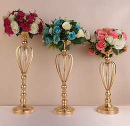 Holiday Table Decor Australia - 59CM height Gold-plated iron crown flower vase Wedding Table Centerpieces Decor Party Road Lead Metal Flower Rack