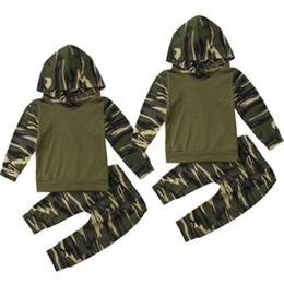 Double Leggings Australia - Kids Baby Boy ArmyGreen Hooded Tops T-shirts+ Long Leggings Pants Outfit