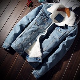 $enCountryForm.capitalKeyWord NZ - 2018 Winter New Fashion Boutique Wool Thick Warm Light Blue Mens Casual Denim Jackets   Slim Leisure Male Denim Jacket Men Coats
