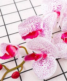 Metal Orchid Australia - Artificial Phalaenopsis Butterfly Orchid Flower Real Touch Fake Flowers Plant Home Wedding Centerpiece Decoration Spring Popular Flower
